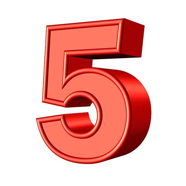 Цифра 5 — картинка, трафарет для распечатывания
