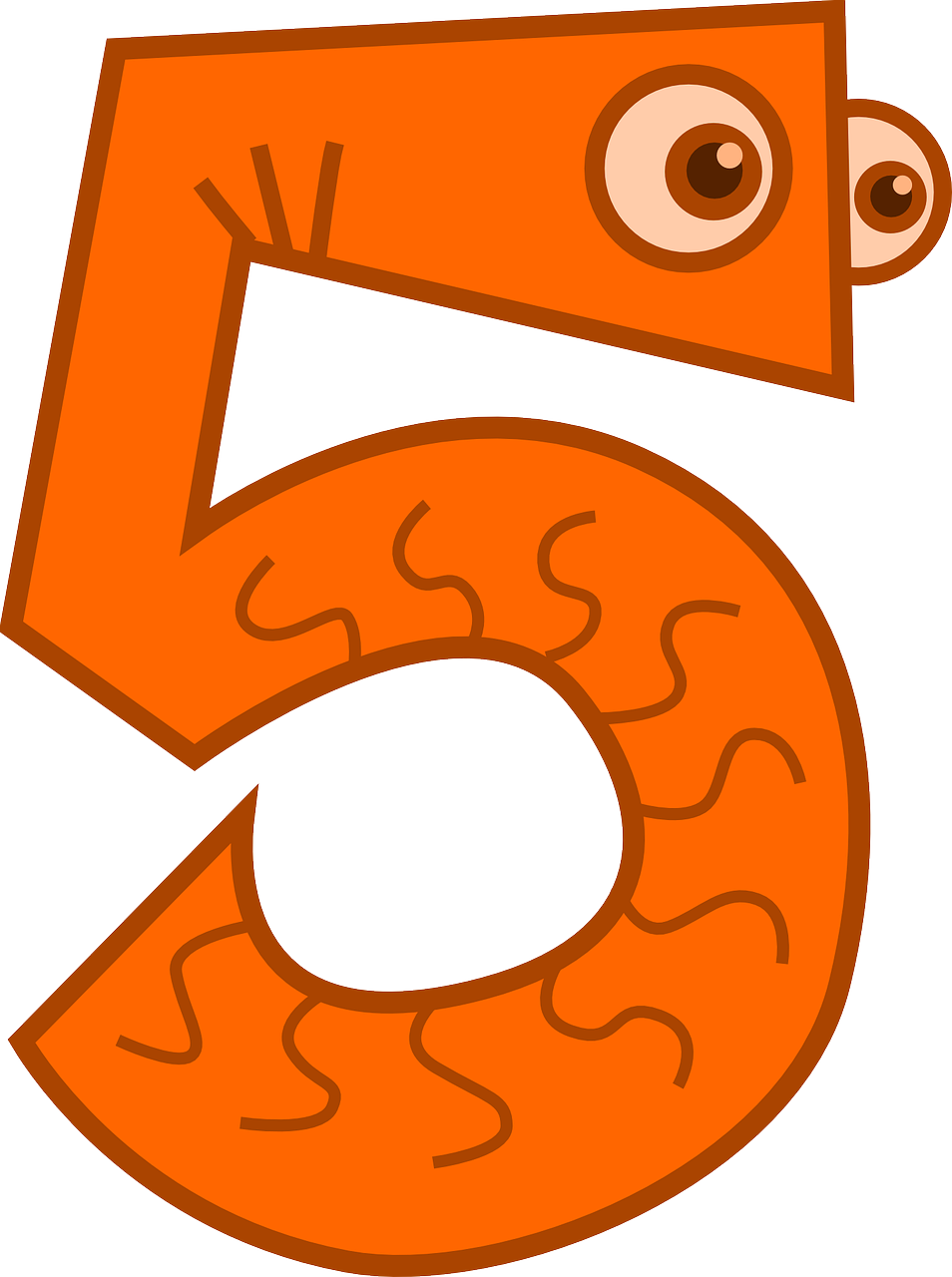 Цифра 5 - картинка, трафарет для распечатывания